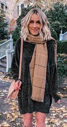 brown scarf Black Long Sleeve Shirt, Long Sleeve Shirts, Perfect Fall Outfit, Autumn Outfits, Blue Jeans, Zip Ups, Black Leather, My Style