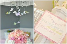 Para tu fiesta mariposa, cuelga pequeñas mariposas de las lámparas / Hang little cloth butterflies from the lamps for your butterfly party