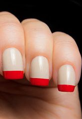 Nude base, bright red french tips. Clean and modern!