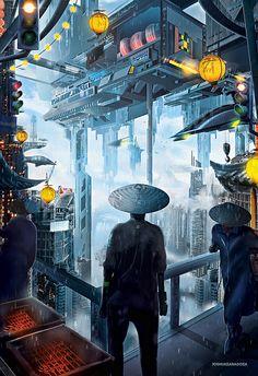 Cyberpunk future city.