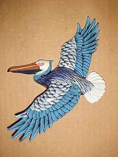 9-Flying-PELICAN-Wall-Hanging-Decor-Bath-Beach-Tropical-Ocean-Nautical-Birds