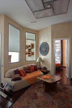 kleines-wohnzimmer-essbereich-modern-tuerkisblau-gruen-graues-sofa ... - Wohnzimmer Mit Essbereich