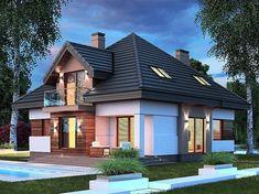 Projekt domu Opałek III N 134,43 m2 - koszt budowy 224 tys. zł - EXTRADOM Pent House, My House, American Style House, Modern Bungalow House, Zaha Hadid Architects, House Elevation, Dream Rooms, Home Fashion, Beautiful Homes