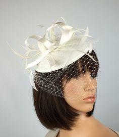 f41d4696861 Ivory Cream Wedding Hat on a satin style hair by PrettyElegant1 Cream  Fascinator