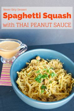 This Spaghetti Squash with Thai Peanut Sauce is a great weeknight meal! It's healthy, vegetarian, gluten free and vegan and only 4 Weight Watchers points!