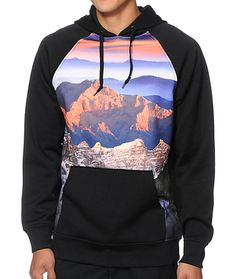 Improve your comfort with a soft fleece lining with a sublimated mountains and sunset front graphic.