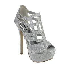 Styluxe Silver Glitter Heels