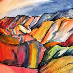 regenboog bergen China, rainbow mountains. Made with  ink, pencil and paint by Grietje Drooglever  www.fotootjevandaag.wordpress.com