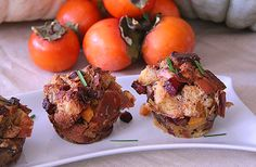 Thanksgiving Week: Individual Savory Challah Bread Pudding with Shiitake Mushrooms and Butternut Squash Challah Bread Pudding, Bread Puddings, I Love Food, Good Food, Savory Muffins, Muffin Bread, Bread Recipes, Holiday Recipes, Stuffed Mushrooms