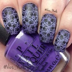 Purple stamping nails!  For this design I used @opinz Lost My Bikini in Molokini, Never Have Too Mani Friends and @iscreamnails Blackberry Mousse!  Peel off stuff is Liquid Palisade by @kiesque.  I used @clearjellystamper to stamp on the flowers ✨✨ Get 10% off your order at www.ClearJellyStamper.com using my code VICSNAILS ✨✨ Stamping plate is BP-78 from @bornprettystore, item ID is 21809. ✨✨Get 10% off at @bornprettystore using my code VSW10✨✨ Song is Into The Night by Nero