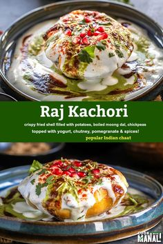 Raj Kachori - popular Indian chaat which crispy fried shells (kachori) filled with potatoes, boiled moong dal, yogurts, spices, chutneys and topped with various garnishes! #indianfood Cilantro Chutney, Tamarind Chutney, Best Indian Recipes, Vegetarian Recipes, Cooking Recipes, Chaat Masala, Indian Street Food, Sugar Free Recipes