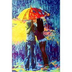Lluvia. Esquema para el bordado con abalorios. Precio 25,20€. Tamaño 27*41 cm  Que puede ser mas agradable que un beso tierno debajo de la lluvia compartiendo paraguas con una persona muy querida. Te falta amor en tu vida? Elige imagen de una pareja de enamorados para bordarla!