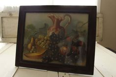 Antique Victorian Fruit Still Life Lithograph 100 Year Old