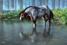 Prints: daniel-eskridge.artistwebsites… Somewhere in the wilderness of the American West, a wild mustang stands on a large rock to get a better view of the surrounding landscape as it search...