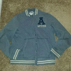 Trade @tinaramirez Abercrombie and Fitch jacket Very warm, comfy and SOFT!!  Grey, cream lines,  around wrist and waist, navy A, zip up,  L but fits like M, like new, GREAT CONDITION!! Very warm too! Abercrombie & Fitch Jackets & Coats