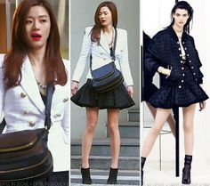 Jun Jin Hyun  White houndstooth blazer and a pleated flare houndstooth skirt, both from Balmain Resort 2014.
