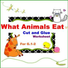 "What Animals Eat : Carnivore, Herbivore and Omnivore1. Students identify 21 animals according to the food they eat.2. Students cut and glue the pictures of animals into 3 worksheets.3. There are 5 pages: 1 for pictures, 3 Worksheets and 1 for answer key.---------------------------------------------------------------------------------------You may like to see my other products: ""What Animals Eat"" Cut and Glue Worksheet for G. 1-2Animal Needs for G. 1-2Magnets Worksheet for G.1-2Living Things…"