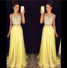 Two Pieces Yellow Prom Dress Evening Party Dress pst0632 – BBtrending