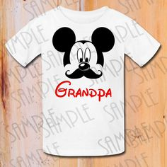T-shirt Disney Mickey Head with Mustache Iron by Fantasyprintables