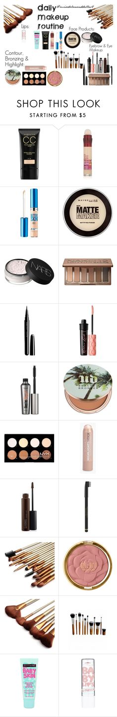 """""""Daily Makeup Routine"""" by missdolananddallas2 ❤ liked on Polyvore featuring beauty, Max Factor, Maybelline, NARS Cosmetics, Urban Decay, Marc Jacobs, Benefit, Boohoo, MAC Cosmetics and Milani"""