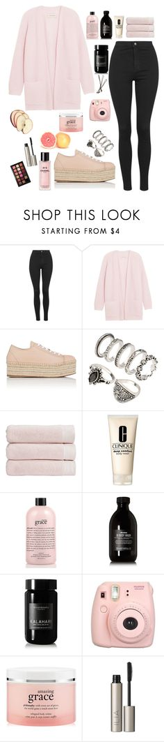 """""""hey sunday"""" by maria143sara on Polyvore featuring Topshop, By Malene Birger, Miu Miu, Christy, Clinique, philosophy, Davines, African Botanics, Fujifilm and FRUIT"""