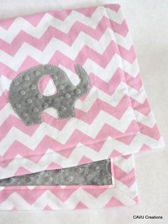 Baby Girl Nursery Gift:  Pink Chevron & Gray Minky Baby Blanket with Elephant on Etsy by CAVUcreations, $44
