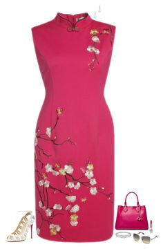 """Oriental hot pink"" by julietajj on Polyvore featuring Christian Louboutin, Diane Von Furstenberg, Belpearl, CARGO and Swarovski"