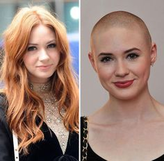 Karen Gillan long hair or bald? Long Hair Cut Short, Short Hair Styles, Shaved Head Women, Buzz Cut Women, Bald Girl, Bald Women, Diy Hairstyles, Men's Hairstyle, Medium Hairstyles
