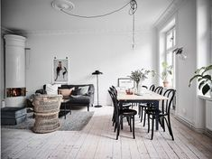 Lovely living room in bright colors in Scandinavian style decor.