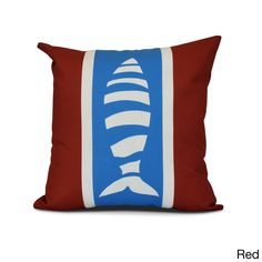 E by Design Puzzle Fish Animal Print Outdoor Pillow