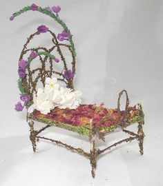 OOAK Pixie Bear Fairy Bed Miniature Furniture by anndesigns59, $24.95