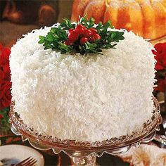 Coconut-Lemon Cake by Southern Living. This Coconut Lemon Cake is a classic Christmas white cake in every way, with three golden yellow layers and fluffy seven-minute frosting. Christmas Sweets, Christmas Baking, Christmas Cakes, Christmas Tea, Holiday Cakes, Elegant Christmas Desserts, White Christmas, Best Christmas Cake Recipe, Xmas Cakes