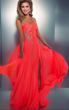 Bridal Coral Prom Dresses -neck Sleeveless Chiffon Sexy Low Back Cut Out A Line Party Dress
