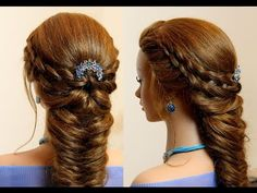 Wedding prom hairstyle for long hair - YouTube