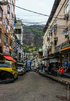A typical street in Rocinha favela, Rio de Janeiro