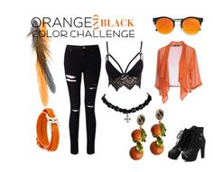"""Orange and Black Color Challange"" by twertle on Polyvore featuring LULUS, Miss Selfridge, Club L, Privé, Salvatore Ferragamo, Dolce&Gabbana, orangeandblack and colorchallange"