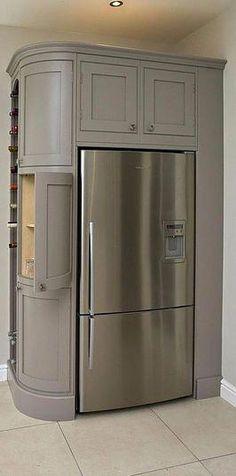 Super Kitchen Corner Refrigerator Pantries Ideas Super Kitchen Corner Fridge Pantries Ideas - Own Kitchen Pantry Luxury Kitchen Design, Best Kitchen Designs, Luxury Kitchens, Cool Kitchens, Tuscan Kitchens, Kitchen Corner, Kitchen Pantry, New Kitchen, Pantry Room