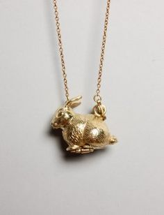 Bunny rabbit pendant necklace with secret compartment