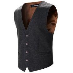FLATSEVEN Mens Designer Stylish Casual Vest WaistCoat (48,045 KRW) via Polyvore featuring men's fashion, men's clothing, men's outerwear, men's vests, men, mens waistcoats, mens vest and mens vest outerwear
