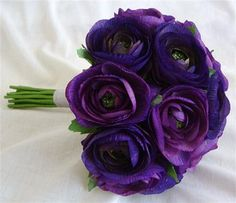 Image detail for -Wedding, Flowers, Bouquet, Purple, Ranunculus - Project Wedding Purple Wedding Bouquets, Wedding Flowers, Bridesmaid Bouquets, Blue Bouquet, Bouquet Wedding, Bridal Bouquets, Wedding Colors, Ranunculus Bouquet, Ranunculus Wedding