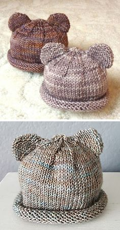 Beanie Knitting Patterns Free, Baby Hats Knitting, Knitted Hats, Free Knitting, Hat Patterns, Knit Or Crochet, Crochet Baby, Baby Bonnet Pattern, Knitting For Charity