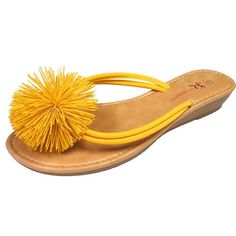 Sondra Roberts' Rubber Pom Pom Sandal in Yellow featured in Oprah magazine  #zokydoky #sondraroberts