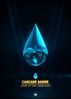 Cascade Badge - by Artkal Kanto Gym Badges, Pokemon Gym Badges, Video Game Anime, Video Games, Rainbow Badge, City Gym, Popular Pokemon, Gaming Posters, Pokemon Gijinka