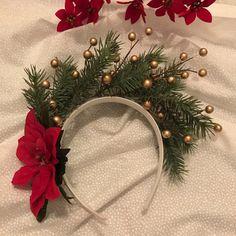 Adult Tacky Christmas headband // Gold and pine headband // ready to ship // Christmas by CraftyAbbe