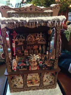 Christmas Market Stall collected for and made by Jackie H. | San Diego Miniature Crafters | 41st Annual Miniature Show & Sale Feb. 7 & 8, 2015 | www.sdminiatureshow.com
