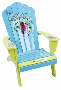 Adirondack Patio Chairs  - Pin it :-) Follow us, CLICK IMAGE TWICE for Pricing and Info . SEE A LARGER SELECTION of adirondack pation chairs  http://zpatiofurniture.com/category/patio-furniture-categories/patio-chair/adirondack-patio-chairs/  -  home, patio, furniture, outdoor furniture, gift ideas , housewarming gift ideas -  Margaritaville Painted 5 O'Clock Somewhere Timepiece Adirondack Chair « zPatioFurniture.com