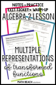 Multiple Representations of Transformed Functions Lesson Algebra 2 Worksheets, Algebra Lessons, Absolute Value, Free Printable Worksheets, Lesson Plans, Ticket, How To Plan, Keys, Students