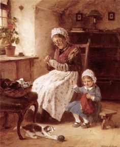 """*""""The Sewing Lesson"""". Hugo Oehmichen (1843-1932), German painter.*"""