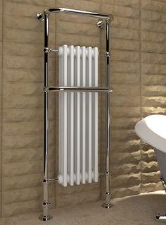 Kudox Traditional Towel Rail Victoria Tall 576mm x 1500mm Chrome & White