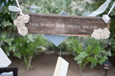"I think if we wrote ""Chapter 2"" on a wedding sign, then ""Chapter 3"" on a baby announcement, it would be so cute!!"